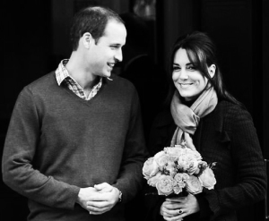 Kate and William leave hospital in black and white