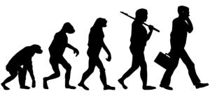 Monkey evolving into man
